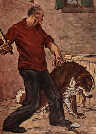 man with club holding dog